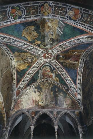 Four Doctors of Church of Vault in Upper Church of Sacro Speco Monastery, Subiaco, Italy--Stretched Canvas Print