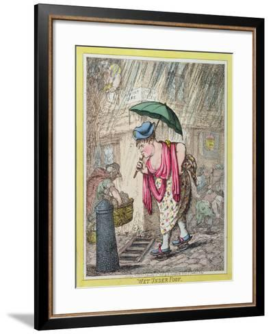 Wet under Foot, Published by Hannah Humphrey in 1812--Framed Art Print
