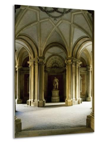 Entrance Hall at Ground Floor, Statue of Hercules, Royal Palace of Caserta--Metal Print