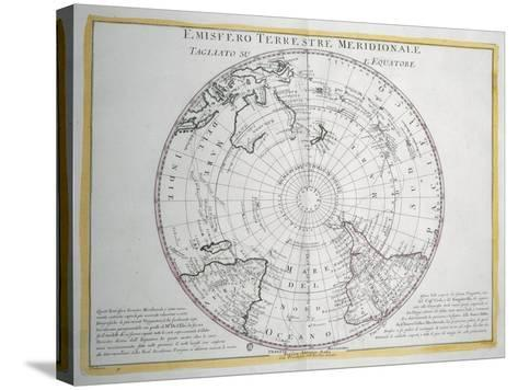 Map of Southern Terrestrial Hemisphere--Stretched Canvas Print