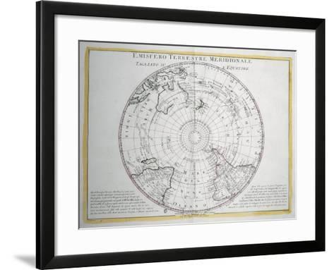 Map of Southern Terrestrial Hemisphere--Framed Art Print