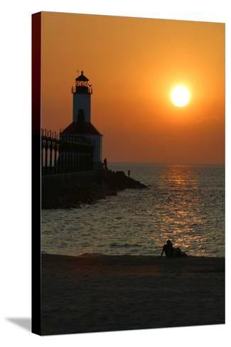 Indiana Dunes lighthouse at sunset, Indiana Dunes, Indiana, USA-Anna Miller-Stretched Canvas Print