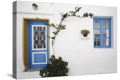 Greece, Cyclades Islands, Paros, Naoussa, Doorway of House-Walter Bibikow-Stretched Canvas Print