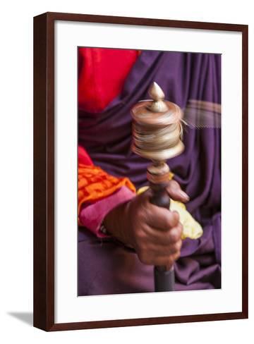 Close Up with a Buddhist and a Hand-Held Prayer Wheel, Bhutan-Gavriel Jecan-Framed Art Print