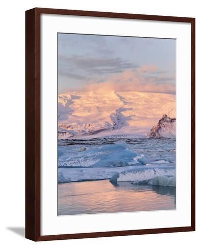 Jokulsarlon with Glacier Breidamerjokull, Vatnajokull NP. Iceland-Martin Zwick-Framed Art Print
