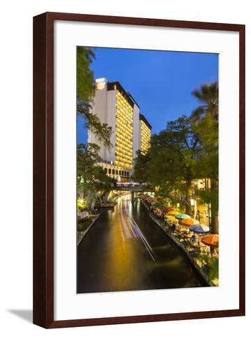 Boat Goes by on the Riverwalk in Downtown San Antonio, Texas, Usa-Chuck Haney-Framed Art Print