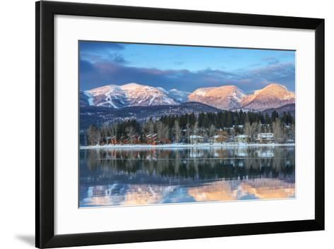 Big Mountain Reflects in Whitefish Lake, Whitefish, Montana, Usa-Chuck Haney-Framed Art Print