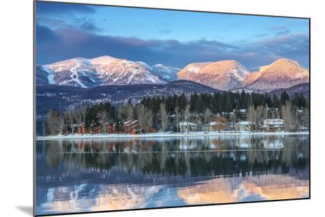 Big Mountain Reflects in Whitefish Lake, Whitefish, Montana, Usa-Chuck Haney-Mounted Photographic Print
