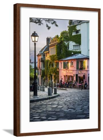 Evening Sunlight on La Maison Rose in Montmartre, Paris, France-Brian Jannsen-Framed Art Print