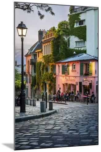 Evening Sunlight on La Maison Rose in Montmartre, Paris, France-Brian Jannsen-Mounted Photographic Print