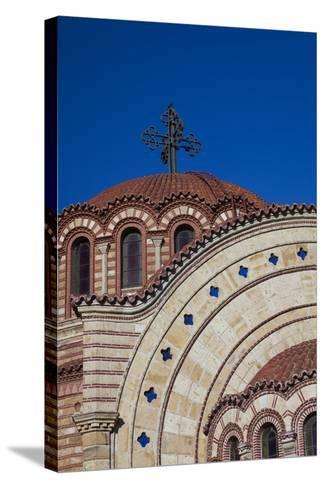 Greece, Central Macedonia, Thessaloniki, Town and Agios Pavlos Church-Walter Bibikow-Stretched Canvas Print