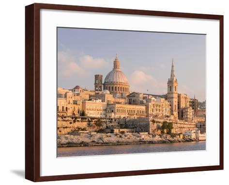 Valletta During Sunset and Marsamxett Harbor, Malta-Martin Zwick-Framed Art Print