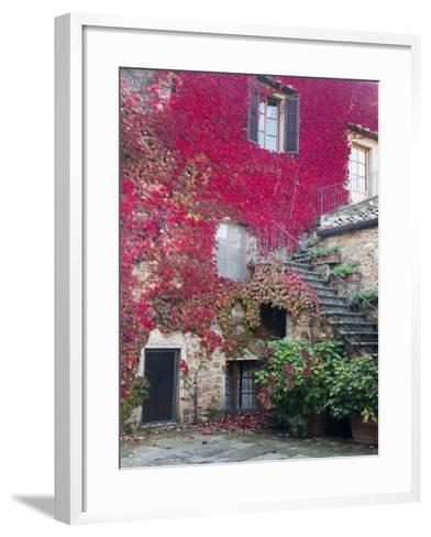 Italy, Tuscany, Volpaia. Red Ivy Covering the Walls of the Buildings-Julie Eggers-Framed Art Print