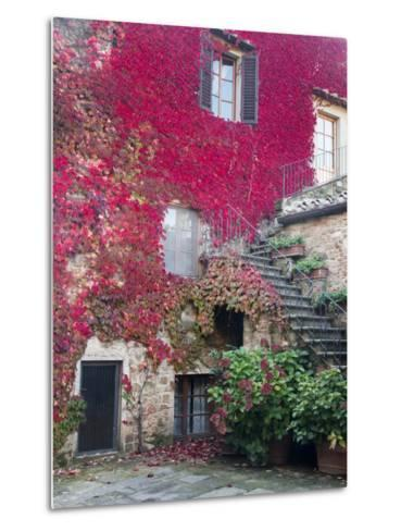Italy, Tuscany, Volpaia. Red Ivy Covering the Walls of the Buildings-Julie Eggers-Metal Print