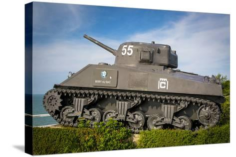 Us Army Sherman Tank on Display at Arromanches-Les-Bains, France-Brian Jannsen-Stretched Canvas Print