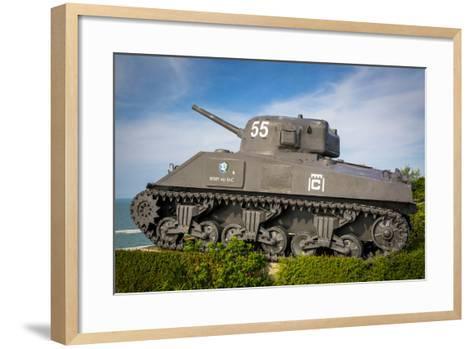 Us Army Sherman Tank on Display at Arromanches-Les-Bains, France-Brian Jannsen-Framed Art Print