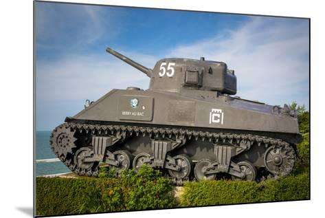 Us Army Sherman Tank on Display at Arromanches-Les-Bains, France-Brian Jannsen-Mounted Photographic Print