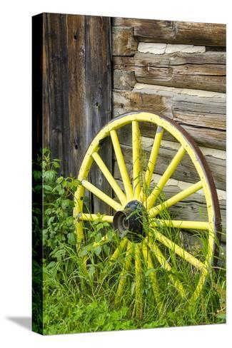 Wagon Wheel in Old Gold Town Barkersville, British Columbia, Canada-Michael DeFreitas-Stretched Canvas Print