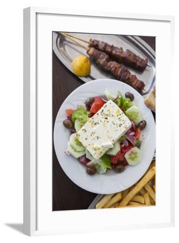 Greece, Peloponnese, Corinth, Greek Salad with Souvlaki and Fries-Walter Bibikow-Framed Art Print