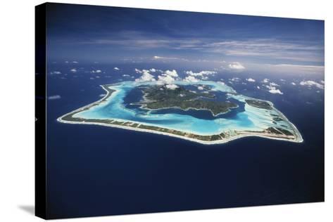 French Polynesia, Bora Bora, Aerial View of Bora Bora Island-Walter Bibikow-Stretched Canvas Print
