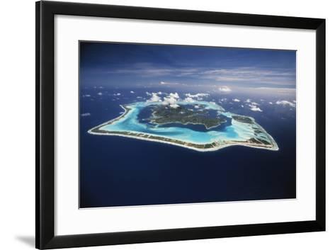 French Polynesia, Bora Bora, Aerial View of Bora Bora Island-Walter Bibikow-Framed Art Print