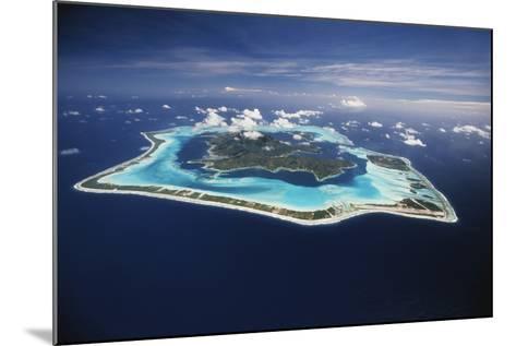 French Polynesia, Bora Bora, Aerial View of Bora Bora Island-Walter Bibikow-Mounted Photographic Print