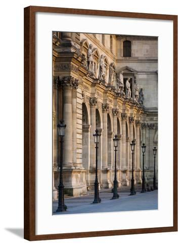 Lampposts Against the Architecture of Musee Du Louvre, Paris, France-Brian Jannsen-Framed Art Print