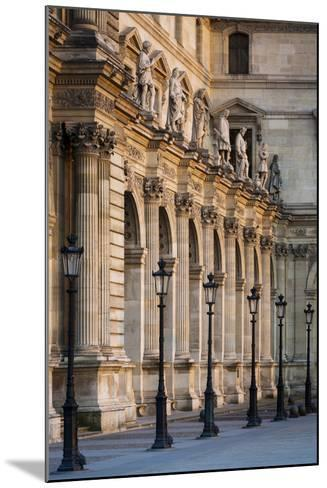 Lampposts Against the Architecture of Musee Du Louvre, Paris, France-Brian Jannsen-Mounted Photographic Print