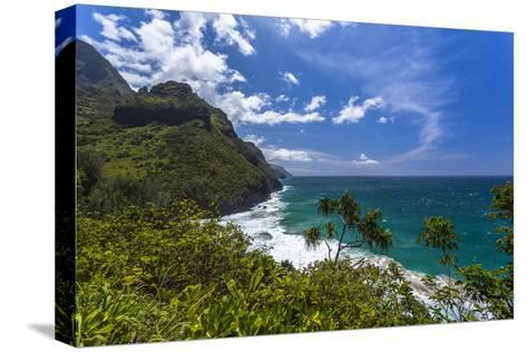 A View of the Na Pali Coast from the Kalalau Trail-Andrew Shoemaker-Stretched Canvas Print