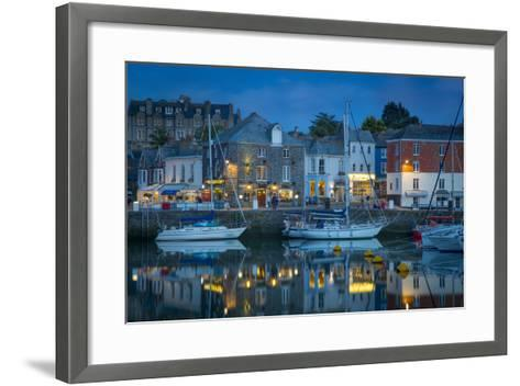 Twilight over Harbor Village of Padstow, Cornwall, England-Brian Jannsen-Framed Art Print