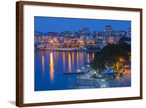 Albania, Albanian Riviera, Saranda, Hotels Along the Ionian Sea, Dawn-Walter Bibikow-Framed Art Print