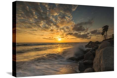 Sunset Along Tamarack Beach in Carlsbad, Ca-Andrew Shoemaker-Stretched Canvas Print