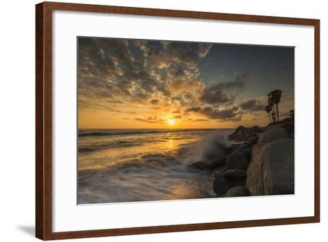 Sunset Along Tamarack Beach in Carlsbad, Ca-Andrew Shoemaker-Framed Art Print