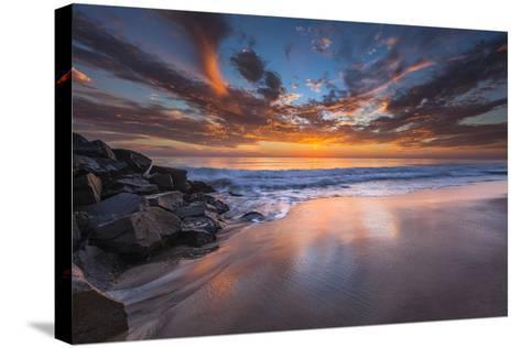 Sunset from Tamarach Beach in Carlsbad, Ca-Andrew Shoemaker-Stretched Canvas Print
