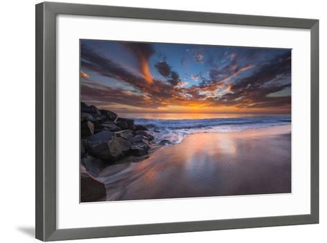 Sunset from Tamarach Beach in Carlsbad, Ca-Andrew Shoemaker-Framed Art Print
