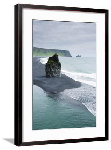 Iceland. Dyrholaey. Black Sand Beach and Sea Stack-Inger Hogstrom-Framed Art Print