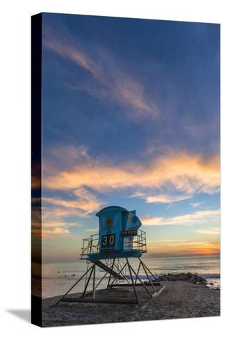 Lifeguard Stand at Sunset in Carlsbad, Ca-Andrew Shoemaker-Stretched Canvas Print