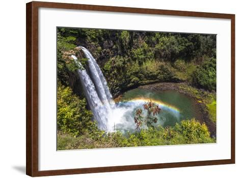 Wailua Falls and Scenery on the Hawaiian Island of Kauai-Andrew Shoemaker-Framed Art Print