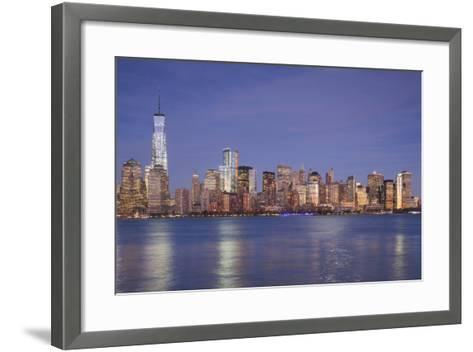 USA, New York, New York City, Lower Manhattan and Freedom Tower, Dusk-Walter Bibikow-Framed Art Print