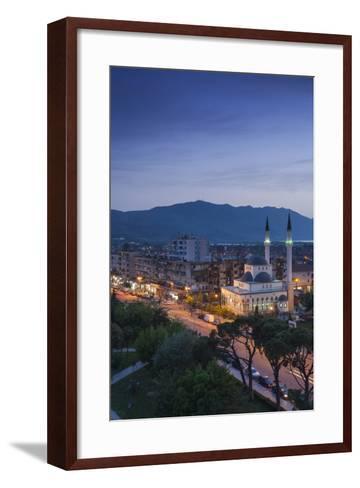 Albania, Shkodra, Elevated View of Zogu 1 Boulevard and Mosque, Dusk-Walter Bibikow-Framed Art Print