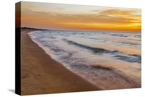 USA, Michigan, Paradise, Whitefish Bay Beach with Waves at Sunrise-Frank Zurey-Stretched Canvas Print