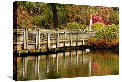 Bridge, Crystal Springs Lake, Rhododendron Garden, Portland, Oregon-Michel Hersen-Stretched Canvas Print