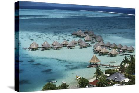 French Polynesia, Bora Bora, Taahina Bay and the Bunglows-Walter Bibikow-Stretched Canvas Print