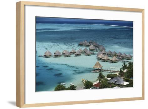 French Polynesia, Bora Bora, Taahina Bay and the Bunglows-Walter Bibikow-Framed Art Print