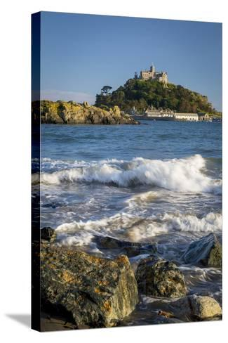 Waves Below Island of St Michael's Mount, Marazion, Cornwall, England-Brian Jannsen-Stretched Canvas Print