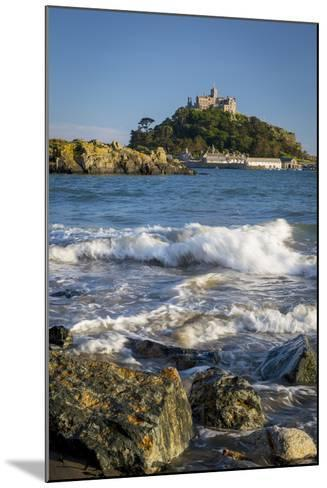 Waves Below Island of St Michael's Mount, Marazion, Cornwall, England-Brian Jannsen-Mounted Photographic Print