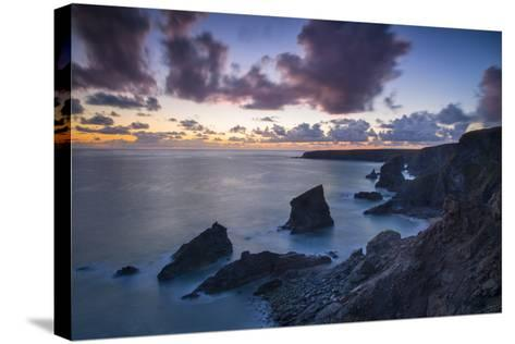 Twilight over the Bedruthan Steps Along the Cornwall Coast, England-Brian Jannsen-Stretched Canvas Print