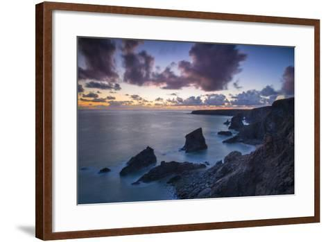 Twilight over the Bedruthan Steps Along the Cornwall Coast, England-Brian Jannsen-Framed Art Print