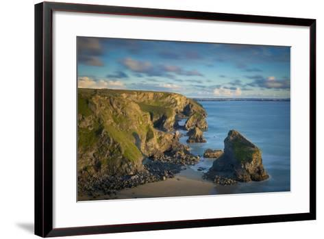 Sunset over the Bedruthan Steps Along the Cornwall Coast, England-Brian Jannsen-Framed Art Print