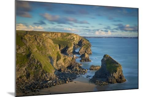 Sunset over the Bedruthan Steps Along the Cornwall Coast, England-Brian Jannsen-Mounted Photographic Print